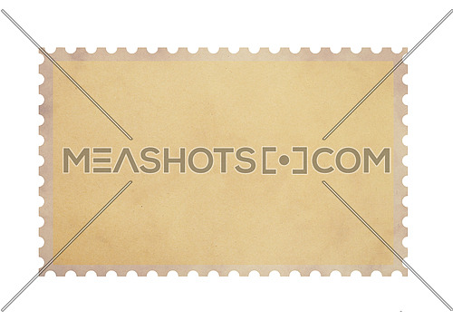 Old retro grunge style blank brown parchment paper postage stamp isolated on white background