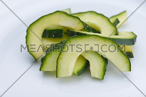 salad cucumber vegetable green closeup isolated on white background