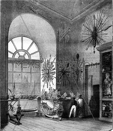 Naval Museum in the Louvre, Room La Perouse, second sight, vintage engraved illustration. Magasin Pittoresque 1847.
