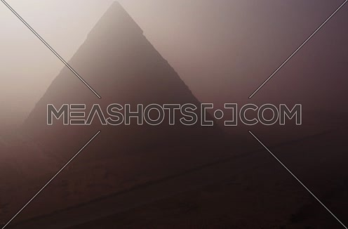 Aerial Foggy Shot for the Pyramids at Giza at Day