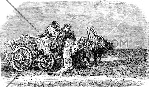 Telega at rest (Estonia), vintage engraved illustration. Le Tour du Monde, Travel Journal, (1865).