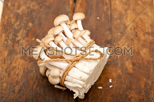 bunch of fresh wild mushrooms on a rustic wood table tied with a rope