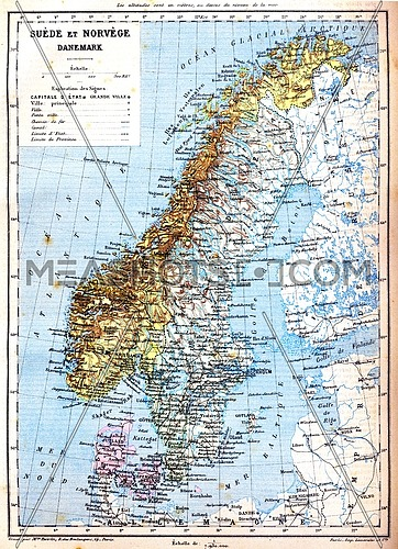 The map of Sweden, Norway and Denmark with explanation of signs on it.