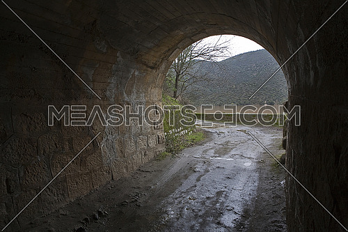 Reservoir J‡ndula, tunnel excavated in the mountain of granite and slate in the reservoir of Jandula, Jaen, Spain