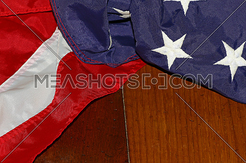 Patriotic star spangled banner american flag on wooden planks background