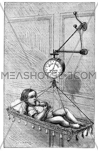 Baby Scale by Dr. Bouchut, vintage engraved illustration. Magasin Pittoresque 1875.