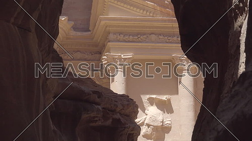 Slow zoom into the Treasury from canyon mouth of Petra