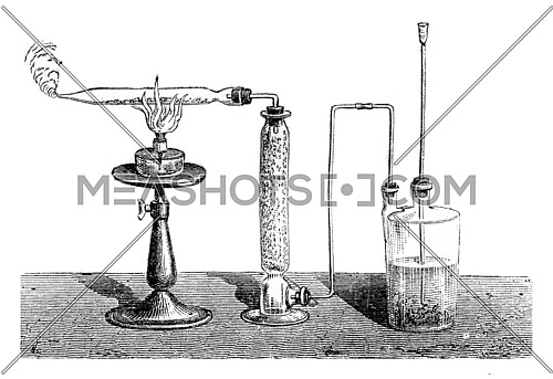 Preparation of pyrophoric iron, vintage engraved illustration. Magasin Pittoresque 1869.