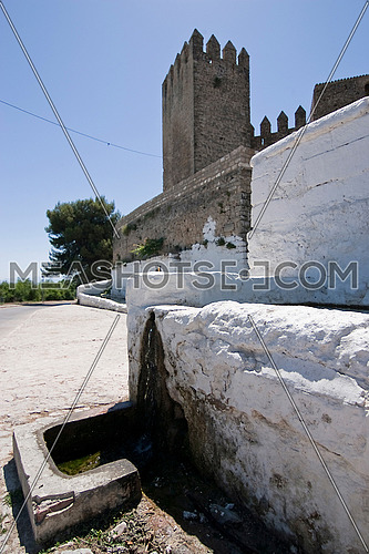 Drinking trough for farm animals and Tower of the Barbacana, Sabiote, Jaen, Spain