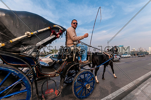 Medium Shot for inside Qasr Al Nile Bridge while carriage walking at Day