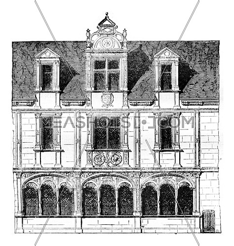 Fragment of a house on Rue Saint-Paul, Paris, demolished in 1835, vintage engraved illustration. Magasin Pittoresque 1842.