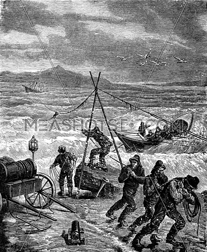 A rescue. The rope is stretched over an anchor, vintage engraved illustration. Journal des Voyage, Travel Journal, (1879-80).