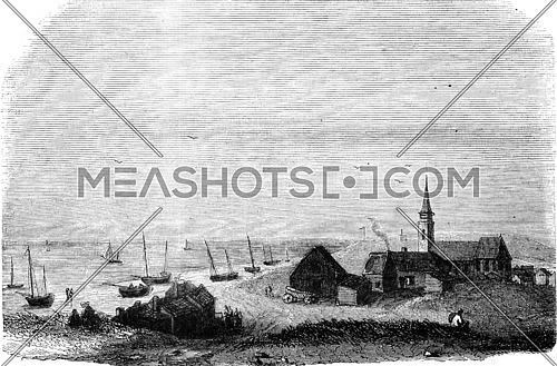 The Village of Scheveningen, vintage engraved illustration. Magasin Pittoresque 1845.