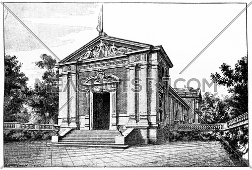The new museum of Luxembourg, vintage engraved illustration. Paris - Auguste VITU – 1890.