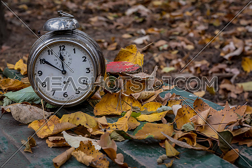 Old clock on autumn leaves as background