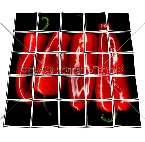 red paprika or paprica on black background collage composition of multiple images over white