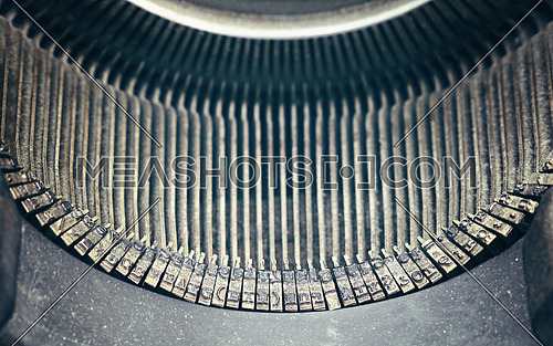 Close up old vintage antique retro typewriter with Latin typeface, high angle view