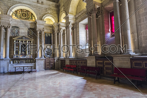 Jaen, Spain - may 2016, 2: The choir is one of the largest in Spain since it consists of 148 seats, was completed in the 18th century, the stalls are of Walnut wood, under the choir are buried numerous bishops, whose tombs are marked by marble tombstones with their names, take in Jaen, Spain