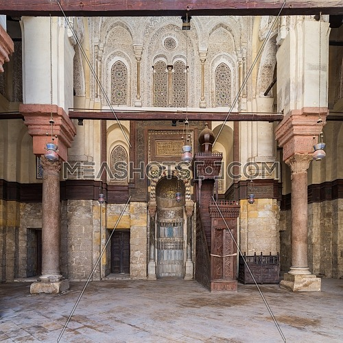 Niche (Mihrab) and pulpit (Minbar) of Mosque of Sultan Qalawun, Moez Street, Cairo, Egypt