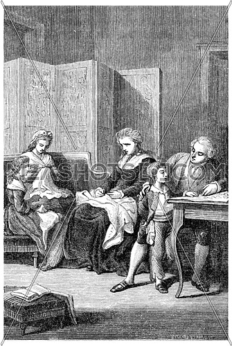 The royal family in the Temple, vintage engraved illustration.