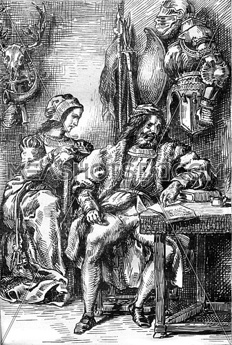 Act IV: Goetz writing his memoirs, his wife Elisabeth, vintage engraved illustration. Magasin Pittoresque 1845.