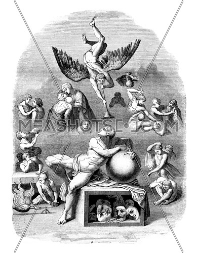 The dream of human life, vintage engraved illustration. Magasin Pittoresque 1843.