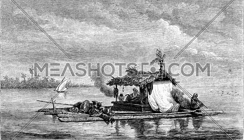1861 Exhibition of Painting, A raft on the river Guayaquil, vintage engraved illustration. Magasin Pittoresque 1861.