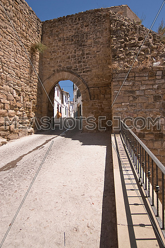 Mudejar door in summer time, Sabiote