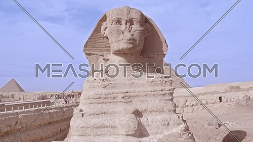 Fly over Shot Drone for The Sphinx and Menkaure Pyramid in Giza at day