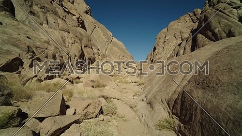 Track in shot for passage in Sinai Mountain at day.