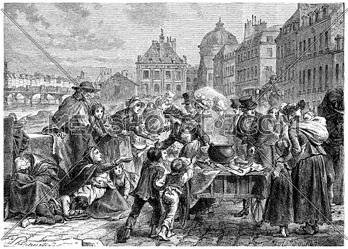 Distribution of food to the starving peasants, vintage engraved illustration. History of France – 1885.