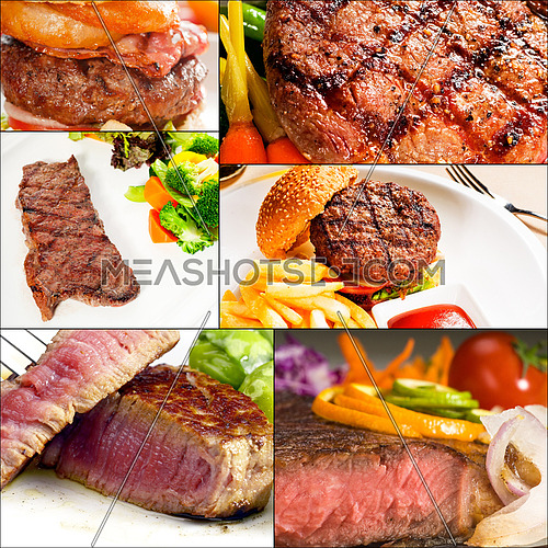 beef dishes collage composition nested on square frame