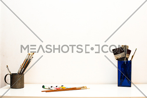 Painting Tools and Colors on White Background  and white table for various use &