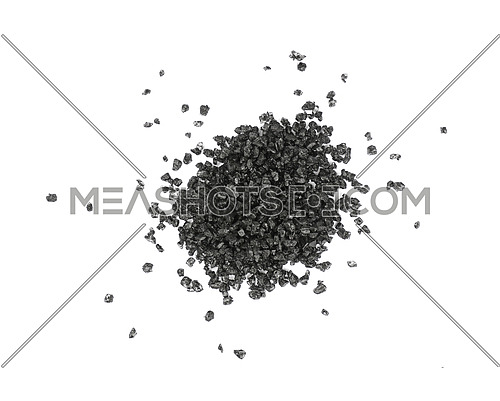 Close up one portion, heap of crystals black volcanic Hawaiian salt isolated on white background, elevated top view, directly above
