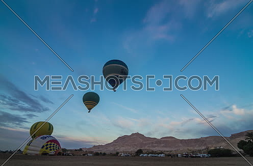 Fixed shot for Hot Air Ballons take off in Luxor