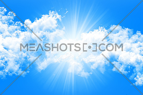Sky and Clouds With Sun Rays Background 3D illustration