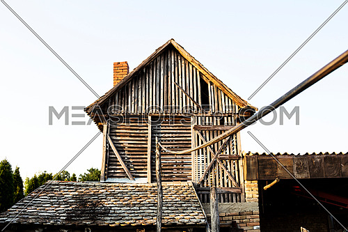 Old wooden barn in the yard