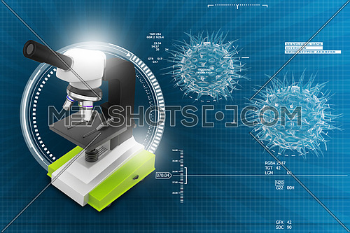 3d microscope on abstract background