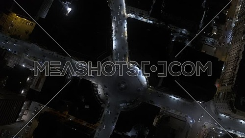 Fly over shot showing downtown traffic in Cairo - 1st MAY 2019 - at night