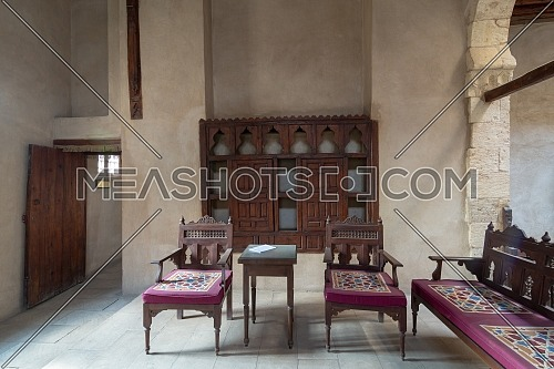 VIP Lounge at Ottoman era historic House of Egyptian Architecture, located in Darb El Labbana district, Cairo, Egypt