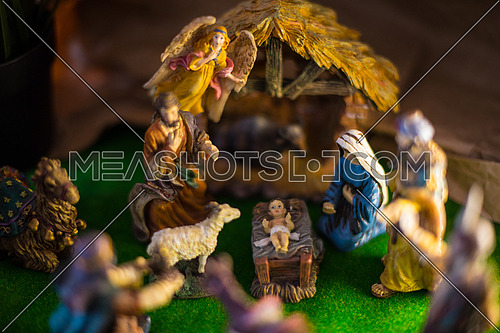 Traditional Coptic Christmas Creche With little Jesus and virgin Mary