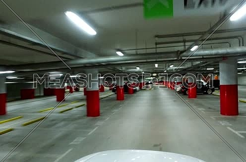 car point of view shot inside an indoor parking