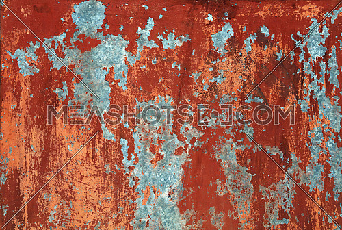 Grunge rdark ed brown old painted wall background texture with stains of faded paint peel and scaling
