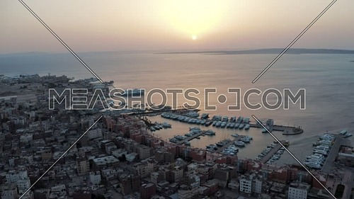 Flying over Hurghada New Marina at sunrise