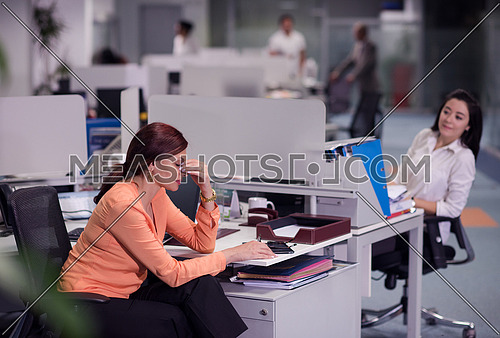 stressed business woman at workplace