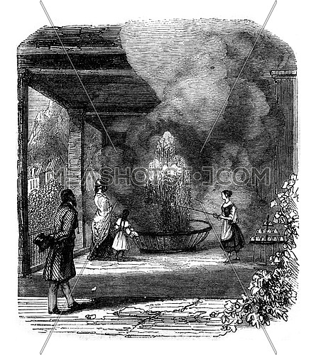 View the source of the Sprudel, taken from the inside of the gallery, vintage engraved illustration. Magasin Pittoresque 1847.
