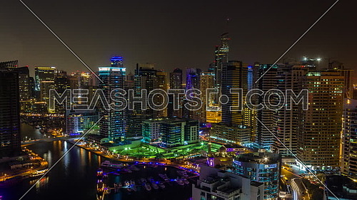 Dubai Marina timelapse at night on 27 August 2017