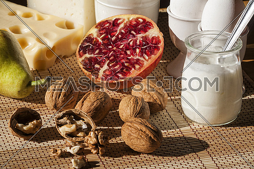 Breakfast with mediterranean food, fruits and dairy products