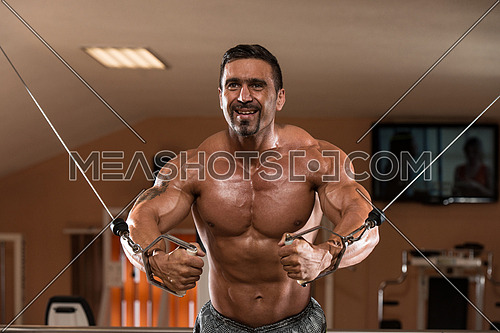 Indian Body Builder Working Out Chest