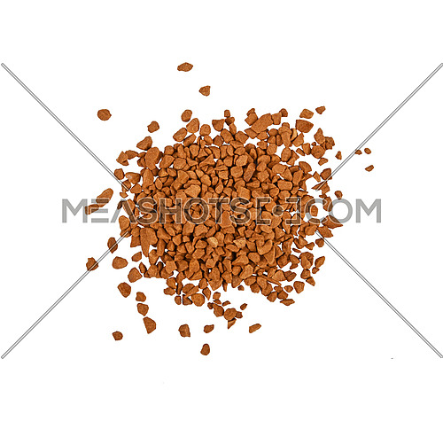 Close up heap of freeze dried instant coffee granules isolated on white background, elevated top view, directly above